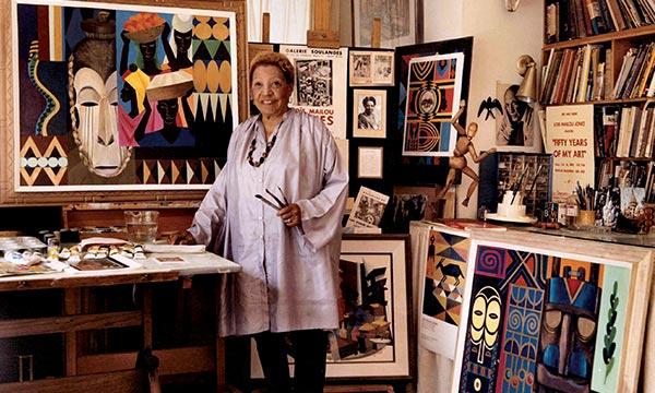 Jones in her Washington, DC studio, 1983 (Papers of LMJ   Moorland-Springarn Research Center, Howard University)