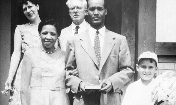 Jones and Pierre-Noël on their wedding day, August 8, 1953