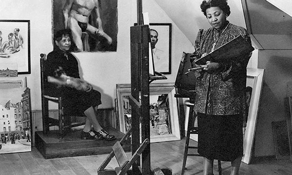 Jones painting a portrait of her mother, Carolyn Jones, 1950 (Papers of LMJ   Moorland-Springarn Research Center, Howard University)