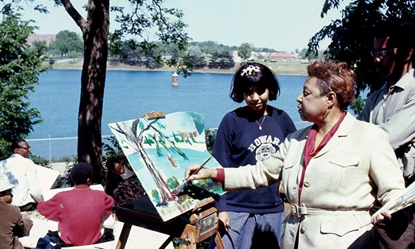 Jones and one of her students by the Potomac River, Washington, DC, circa 1967